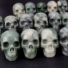 1 PIC 2 Inch Natural Lushan Jade Crystal Skull Carving Crystal healing