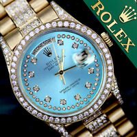 Rolex Presidential Day Date Ice Blue String Dial Diamond Watch 18KT Yellow Gold