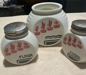 """Three Vintage 1930s Art Deco Canister Milk Glass 5""""x4"""" And 4"""" X 3"""""""