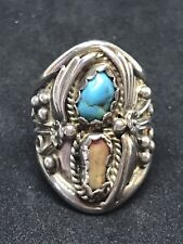 Navajo Turquoise Ring Size 7.75 Vintage Jeff Largo Sterling Silver