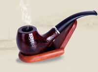 Dark Red Durable Wooden Wood Smoking Pipe Tobacco Cigarettes Cigar Pipes NEW US