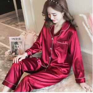 New Womens Faux Silk Sleepwear Pajamas Set Long Lingerie Sleeve Lounge Nightwea