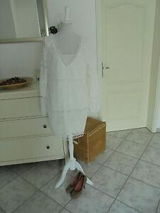 Zauberhaftes sexy Spitzen Mini Kleid aus Italien, weiß, Gr.M-L 38/40/42