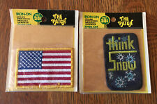 2 Vintage Iron On Patches The Patch Lot American Flag & Think snow Unopened