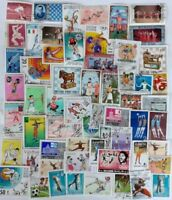 100 Colourful Sports & Olympic Games Used Stamps from Around the World