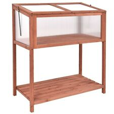 US Portable Garden Wooden Cold Frame Greenhouse Raised Flower Planter Protection