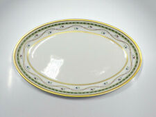 """Faberge Limoges Luxembourg Green Gold Trim Oval Serving Platter, 14"""""""