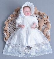 Girls White Lace Christening Gown Party Dress Cape Bonnet 0 3 6 12 18 24 Months