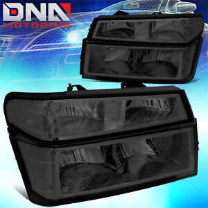 FOR 2004-2012 CHEVY COLORADO/GMC CANYON PAIR HEADLIGHT+BUMPER LAMPS SMOKED/CLEAR