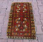 Anatolian Hand Knotted Wool Oriental Doormat Rug Turkish Vintage Carpet 2x3 ft