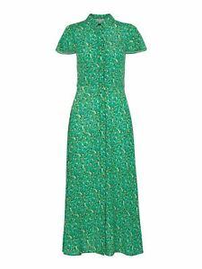 WHISTLES Ditsy Blossom Midi Shirt Dress Cap Sleeve Green Multi RRP155 UK6 BNWT