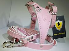 Dog Harness, Leather Pink Toy Breed Dog Harness Set AK9 008