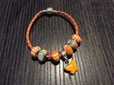 Silver Clasp Braided Orange Leather Bracelet Beads Charms for women jewellery
