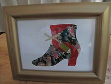 Original Iris Folding Picture with Frame - Old Fashioned Ladies Boot w/Bow