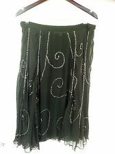 COHEN ET SABINE silk beaded swing skirt - grey with silver beading - Size 12