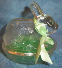 Galerie Clear Glass Bunny Rabbit On a Nest Candy Trinket Dish Figurine Green Bow