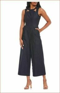 Calvin Klein NAVY Cropped Ankle Jumpsuit Stretchy Cutout Front Pockets NWT$139