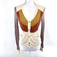 CHASER Retro Colorblock Long Sleeve Button Crochet Knit Sweater Cardigan Size M