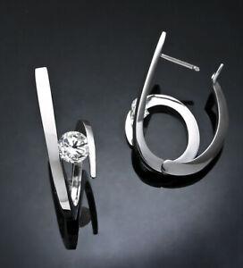 Elegant Inlay CZ Geometric Huggie Hoop Earrings for Women Girl
