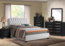 Modern White PU Ireland Queen Size Bed 4 Piece Bedroom Set Furniture