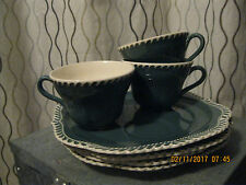 LOT of 7, HARKER Pottery,Chesterton,TEAL Green & White,Saucer & Cup Luncheon Set