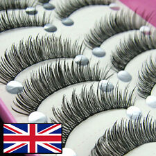 10 PAIRS LONG THICK BLACK FALSE EYELASH THIN BAND LONG BLACK FAKE EYELASHES 016