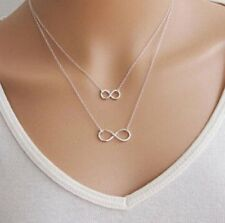 Women's Ladies Necklace Pendant Infinity Symbol Silver Plated Trendy Gift Style