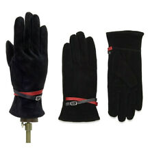 Gloves Suede Leather Ladies Black  / Red Fine Lined Italian Medium + Large