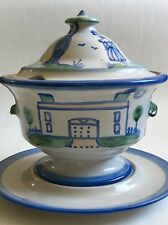 M.A. Hadley Large Soup Tureen Country Scene Cows, Farmer, Wife Bowl Lid Plate