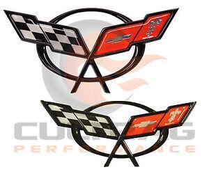 1997-2004 C5 Corvette Genuine GM Front & Rear Bumper Cross Flags Emblems
