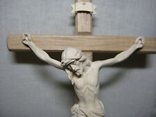 "11"" Hand Carved Crucifix, Strait Cross, Hand Made in Italy - Made of Solid Wood"