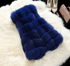 Women's Waistcoat Jacket Warm Gilet Outwear Long Slim Vest Faux Fox Fur Coat