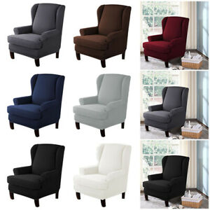 2pcs Wing Chair Cover Stretchy Sofa Slipcover 1seater Sofa Cover Chair Protector