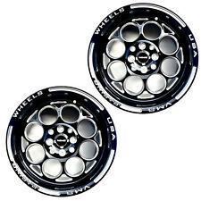2x 15X8 MODULO RACING RIMS WHEELS BLACK MILLING FINISH 4X100 ET20  ACURA HONDA