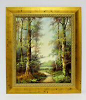 Country Forest Path 20 x 24 Art Oil Painting on Canvas w/Custom Gold Frame