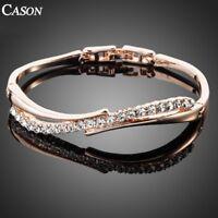 Fashion 18K Rose Gold Plated Austrian Crystal Fashion Brand Bangle Bracelet