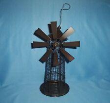 Metal Wire Windmill Bird Feeder Windmill Blades Rotate Nwot