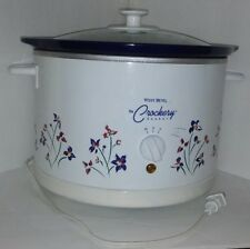 Crockpot Slowcooker Westbend Round Blue Floral 84326 Glass Lid Fall Vtg Kitchen