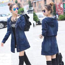 Ladies Girls Long Hooded Casual Denim Jeans Jackets Coats Outwear Windbreaker UK