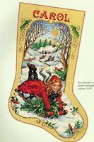 🎄 Victorian Girl Sledding Christmas Stocking Cross Stitch Chart Sandy Orton