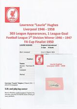 LAURIE HUGHES LIVERPOOL 1946-1958 RARE ORIGINAL HAND SIGNED CUTTING/CARD