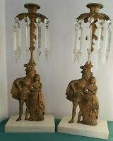 Vtg Victorian Cast Metal Candlestick Holders Pair Marble Base Figural Man &Lady