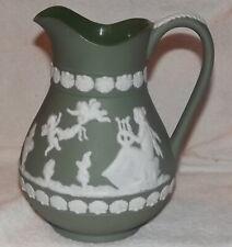 Wedgewood Green Jasperware water Pitcher 8 inch Cherubs musical women Rare Piece