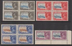 Trinidad & Tobago 1935 Silver Jubilee 2c, 3c & 6c blocks 4 & 24c pair used.