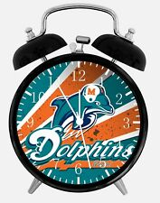 "Miami Dolphins Alarm Desk Clock 3.75"" Home Office Decor E329 Nice For Gift"