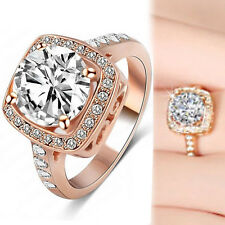 18K ROSE GOLD GF 5CT HALO SIMULATED DIAMOND ENGAGEMENT WEDDING DRESS SOLID RING