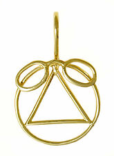AA Alcoholics Anonymous Delightful Symbol Pendant, #828-3 Med. Size, 14k Gold