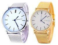 Armbanduhr Damen Gold Metall Uhr Blau Elegant Klassisch Silber Trend Quarz ♥
