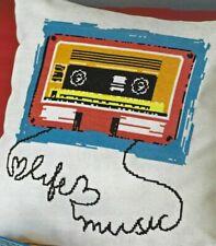 Modern male man Dad Music cassette & headphones Cross Stitch Pattern (a9b29)