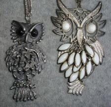 Lot of (2) Vintage Chunky Silver Metal Owl Necklaces Jewelry